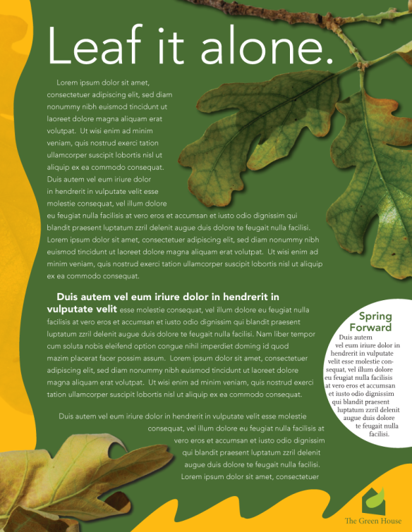 Sample newsletter article with leaves