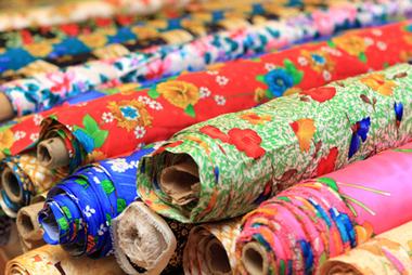 Rolls of silk in shop